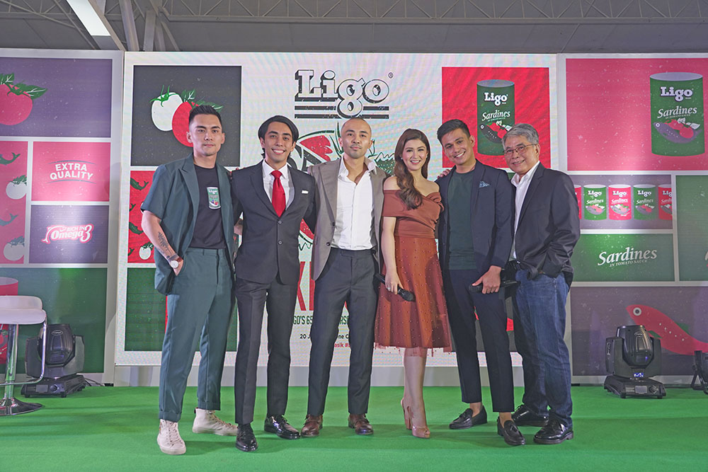 From Left: Macky Tung, Vice President for Advertising and Promotion; Mark Tung, Vice President for Sales and Marketing; Mikko Tung, Vice President for Production; Brand endorsers Carla Abellana and Tom Rodriguez; and Ligo President and CEO Gregory Tung Jr.