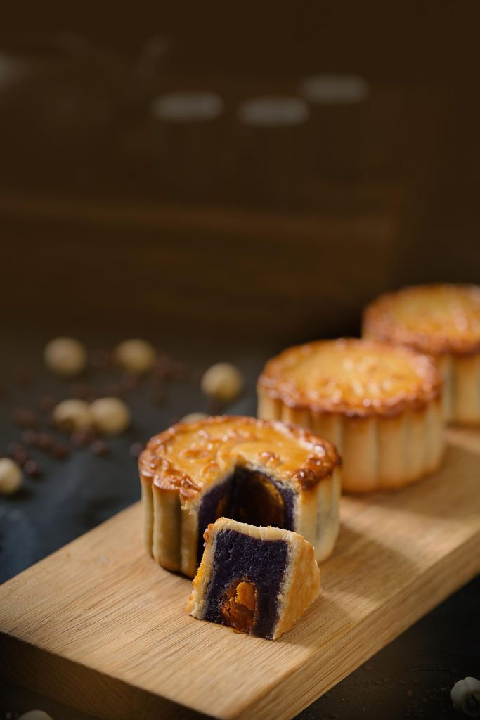 Baked Mooncake with Ube Paste and Double Egg Yolk