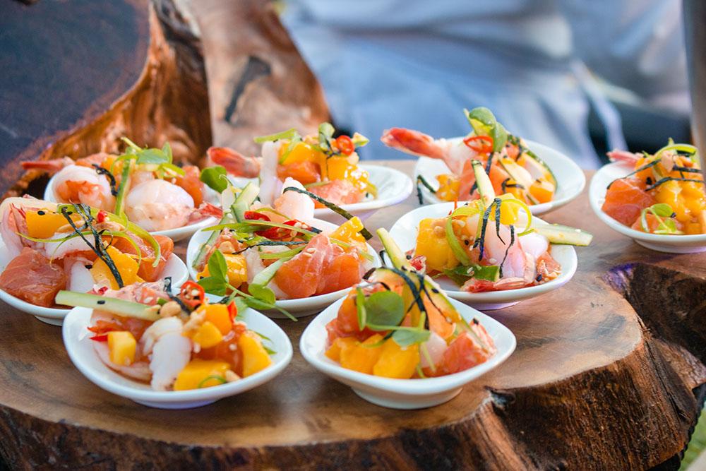 Joy Nostalg Hotels & Suites' Salmon and Shrimp Mango Bowl