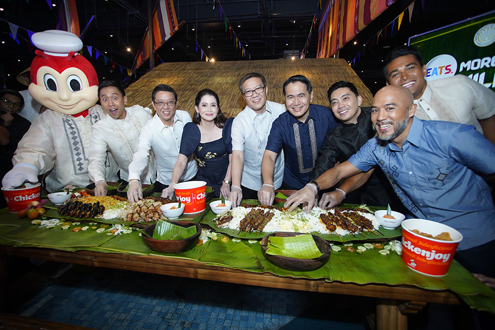 Eats. More Fun in the Philippines. The Department of Tourism partners with the country's leading fast-food chain, Jollibee, for an exciting food tourism campaign that showcases the richness and diversity of Filipino cuisine and the joy of eating in the Philippines. In photo (L-R) are Jollibee, Mikey Bustos, Jollibee Foods Corporation CEO Ernesto Tanmantiong, DOT Secretary Bernadette Romulo-Puyat, JFC Philippines Country Head Joseph Tanbuntiong, Jollibee Philippines President JJ Alano, Jollibee Global Brand CMO Francis Flores, Chef Jordan Andino, and Chef JP Anglo.
