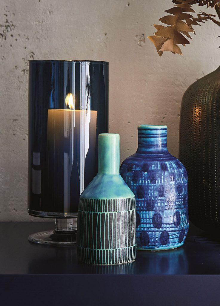 Joss and Zia Blue Mini Vases glazed with layers of blues and greens made by talented artisans.