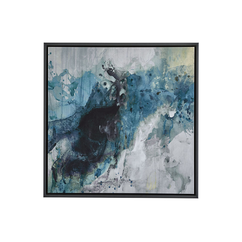 Above & Beyond Wall Décor. Waves crashing on rocks along the Rhode Island seashore inspired artist Kari Taylor to create this dynamic mixed media abstract painting. Using the deep black of charcoal and allowing the acrylic paints to splash, layer and drip, she captures the movement and mystery of the sea.