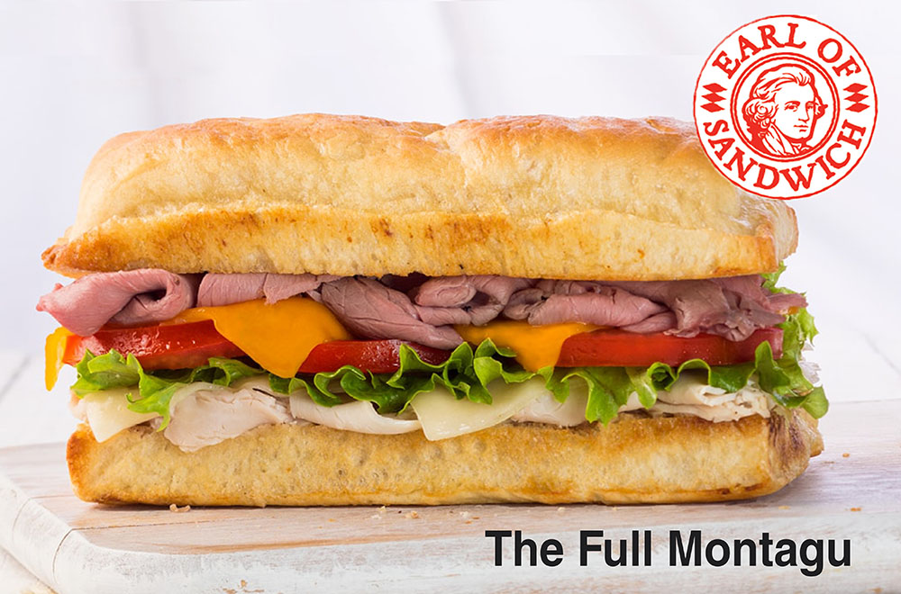 THE FULL MONTAGU® Roasted beef, turkey, Swiss, cheddar, lettuce, tomato, and mustard sauce