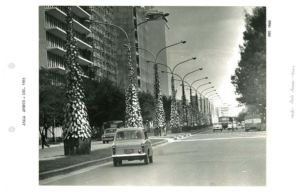 An archive photo taken around the year 1965. This year's Christmas decors are inspired by this – a row of Christmas trees that line Ayala Avenue.