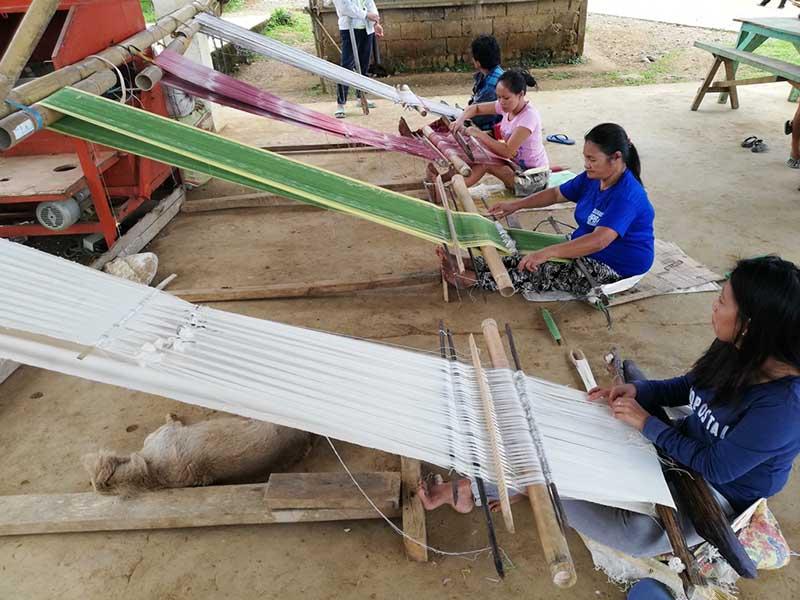 Bagobo weavers using their handlooms