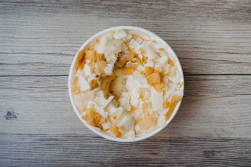 Coconut Pie Oh My – Vanilla custard blended with Wildflour coconut pie and toasted coconut.