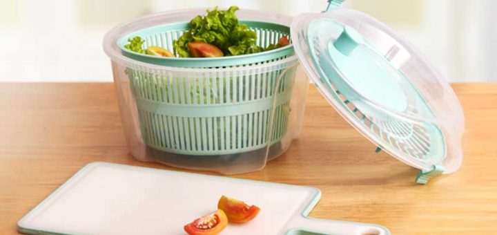 Wash and dry vegetables thoroughly with this Gondol Vega Salad Spinner.