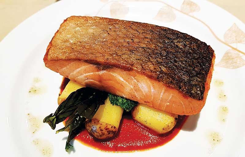 Pan-roasted Australian blackened salmon steak copy