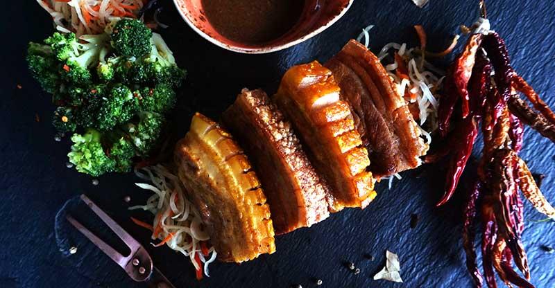 Lechon Kawali served with Liver sauce, pickled Papaya & Seasonal Vegetables copy